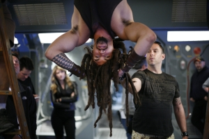 Jason Momoa hanging around on-set with Bamford. Photo courtesy of and copyright of MGM Studios