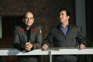 "Robert Picardo and Paul McGillion (Dr. Carson Beckett) during the closing scene of Atlantis' finale ""Enemy at the Gate."" Photo by Eike Schroter and copyright of the Sci Fi Channel"