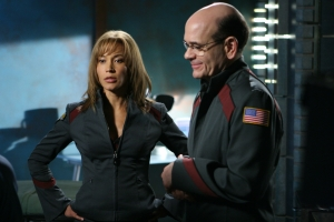 "Teyla (Rachel Luttrell) and Woolsey in the season five episode ""The Seed."" Photo by Eike Schroter and copyright of the Sci Fi Channel"