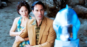 Jody Thompson (as Lana Lewis) and Eric McCormack (as Ted Lewis) in Alien Trespass. Photo courtesy of The Promotion People