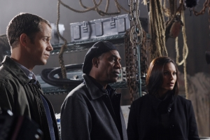 "Colin Ferguson (Sheriff Jack Carter), Joe Morton (Henry Deacon) and Salli Whitfield-Richardson (Dr. Allison Blake) in the season three Eureka episode ""Welcome Back Carter."" Photo by Marcel Williams and copyright of the Syfy Channel"