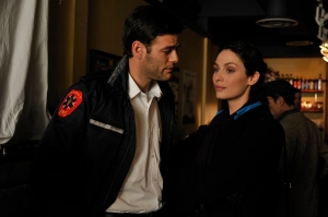 "Ivan Sergei guest-stars as Ross opposite series regular Joanne Kelly (as Myka Bering) in the Warehouse 13 episode ""Magnetism."" Photo by Phillipe Bosse and copyright of the Syfy Channel"