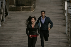 Gwen and Dr. Rupesh Patanjali (Rik Makarem) are on the run in Torchwood: Children Of Earth. Photo courtesy of and copyright of the BBC