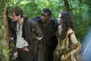 Robin Hood (Jonas Armstrong) and Tuck (David Harewood) come to Isabella's (Lara Pulver) rescue. Photo copyright of Tiger Aspect