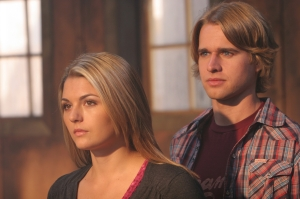 "Jessica Rose as Jenna and Randy Wayne as Carl (""Rain Man"") in Ghost Town. Photo copyright of The Syfy Channel"