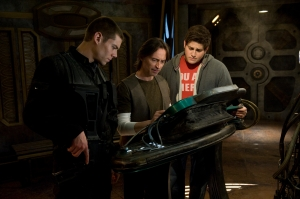Lt. Scott (Brian J. Smith), Dr. Rush (Robert Carlyle) and Eli (David Blue) try to unwravel the Destiny's secrets. Photo copyright of The Syfy Channel